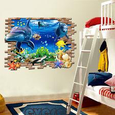Dolphin 3D Wall Mural Removable Wall Sticker Art Vinyl Decal Room Decor Kids