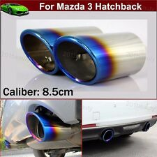Blue 2pcs Exhaust Muffler Tail Pipe Tip Tailpipe For Mazda 3 Hatchback 2014-2018