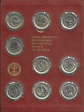 Israel - Coin-Medal Featuring Historical Cities - 9 Silver + 9 Bronze Medals Set
