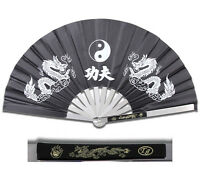 NEW HEAVY DUTY STEEL BLACK DRAGON KUNG FU TAI CHI FAN Martial Arts Hand Wushu