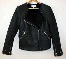 Sandro Paris Lambskin Shearling Moto Motorcycle Leather Jacket Navy Womens 3