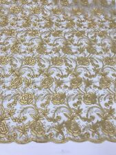 Embroidered Lace Fabric - Floral / Flower Gold Mesh Bridal Veil By The Yard