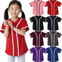 Kids T Shirts Baseball Jersey Stripe School Plain Toddler Boys Girl Team Tee