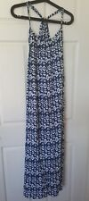 Boho Maxi Dress Rayon Handmade in Indonesia Blue White Light Beach Size S/M B10