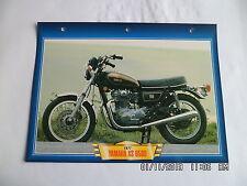 CARTE FICHE MOTO YAMAHA XS 650 D 1977
