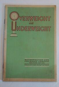 Metropolitan Life Insurance Health Booklet 1930 Overweight & Underweight Vintage