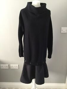 COS Navy 100% Wool Knitted Jumper Dress With Button Up Cotton Trim S High Neck