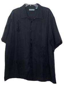 Cubavera Mens Shirt 2X Black Short Sleeve Button Up Collared Rayon Poly Blend