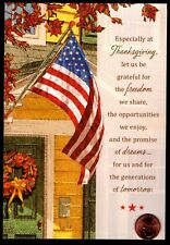 Thanksgiving Patriotic Flag House Wreath Fall - Thanksg 00006000 iving Greeting Card New