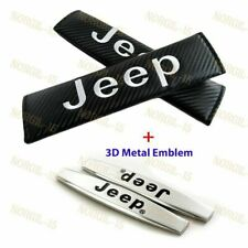 Carbon Look Embroidery Seat Belt Cover Shoulder Pads +Emblem for JEEP Cherokee