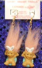 """Russ 1"""" Wacky Wabbit Trolls earrings TROLL DOLLS: surgical steel/still on card"""