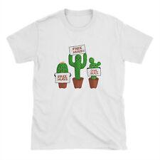 Free Hugs Fun Cactus Plant White T Shirt - Cute Summer Love Womens Colourful Tee