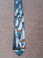 Hand painted silk tie Yachts barche vela Uomo papà regalo padre Compleanno Unico