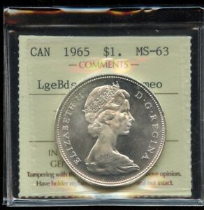 1965 Canada $1 Silver Dollar ICCS MS-63 Large Beads Blunt 5;Cameo Cert #XUP456