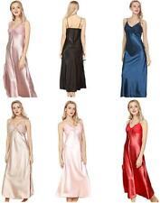 ASHER FASHION Women's Sexy Satin Long Nightgown Lace Slip, Pale Mauve, Size 4.0
