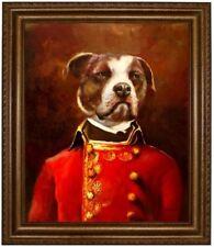 American Bulldog Hund in Uniform, handgemaltes Ölbild, Hundeportrait F: 50x60cm