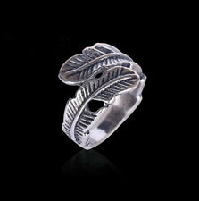 Unisex's Fashion Vintage Stainless Steel Feather Punk Biker Ring Jewelry Gift