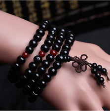 Hot 8mm Tibetan Buddhist wood Black Prayer Bead Mala Necklace/bracelet 108pcs