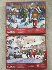 WH Smith Christmas Puzzles x2-500 Pieces-Lovely Festive Puzzles. Complete-Ex Con