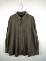 Vintage Mens Flannel Shirt John Ashford Size 2XL Beige Check 100% Cotton Button