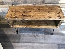 Bespoke handmade rustic tv stand reclaimed pine on hairpin legs.