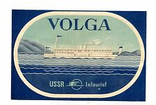 Vintage Label USSR INTOURIST Cruise Ship VOLGA boat Russia