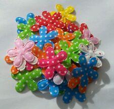 30 x Flower Polka Dot Appliques/Patches 2.8cm Mixed Colours