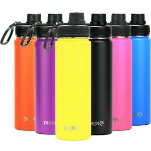 DRINCO Insulated Stainless Steel Sport Water Bottle Wide Mouth 22oz 32oz Flask