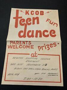 Vintage KCOB Teen Dance Newton Iowa Poster