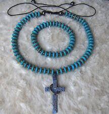 Unisex Turquoise Necklace & Bracelet Set. With Titanium Cross Pendant
