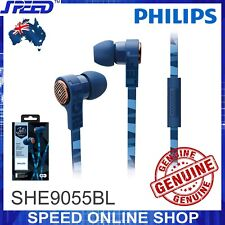PHILIPS SHE9055BL Headphones Earphones with Mic - BLUE - Genuine