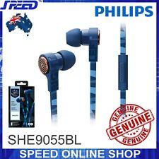 PHILIPS SHE9055BL Headphones Earphones with Mic - BLUE - Genuine