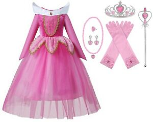 Sleeping Beauty Long Sleeve Princess Aurora Costume Halloween Party Girls Dress