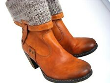 WOMENS RIEKER  KNITTED LEG CASUAL ANKLE BOOTS BROWN TAN SIZE 6/39 RETURNS VGC
