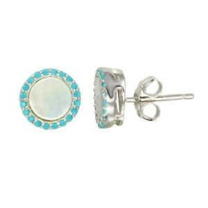 Sterling Silver Round Stud Earrings w/ Opal  & Turquoise Stones