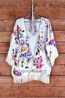 OFF WHITE 62 Floral FRINGE CARDIGAN Print Jacket Kimono Vintage Lk BOHO S M L XL