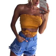 Summer Women Casual Tank Top Cami Bustier Vest Blouse Sleeveless Crop Tops Shirt