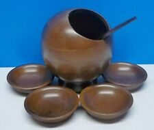 VTG MCM Atomic Hellerware Wood 6 Piece Nut/Rice Dish Serving Set Bowl Spoon Orb