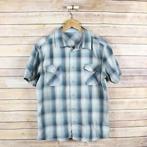 ZOIC Men's Short Sleeve Snap Button Front Shirt S Small Gray & Blue Plaid