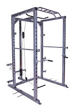 Power Rack Squat Cage Machine Cable Pulley Heavy Duty Pull Up Bar Dips Home Gym