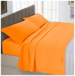 Ensemble Lit Double 2 Carrés Orange Coton Set Parure Draps Taies D'Oreiller