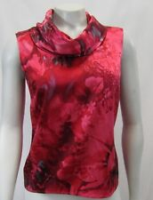 St John Couture 2 P S Blouse Top Silk Blend Stretchy FloralPrint Red Cowl Neck