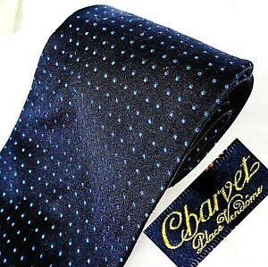 CHARVET Made in France Silk Mens Tie Necktie Black + Tiny Woven Blue Polka Dots
