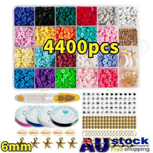 4400x Flat Polymer Clay Beads Spacer for DIY Bracelets Jewelry Making Finding AU