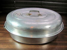 "Vintage 1950's Wear Ever Large Aluminum Roasting Pan Oval 15"" Pot Dutch Oven"