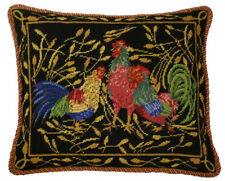 "16"" x 20"" Wool Needlepoint Anne Hathaway's Design Black Pillow with 3 Roosters"
