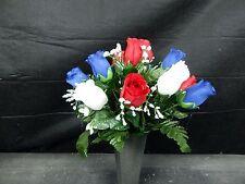 Deluxe Memorial Cemetery Silk Flower Headstone Vase Bush Grave Decoration