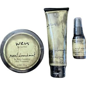 Wen Sweet Almond Mint Set Of 3 Hair Treatment Styling Creme Straightening NEW
