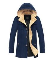 Mens Hooded Wool Blend Trench Peacoat Slim Fit Winter Warm Trench Coat Casual xi
