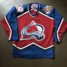 Vintage 90's NHL CCM Colorado Avalanche Maroon Blue White Jersey Sz Youth L/XL